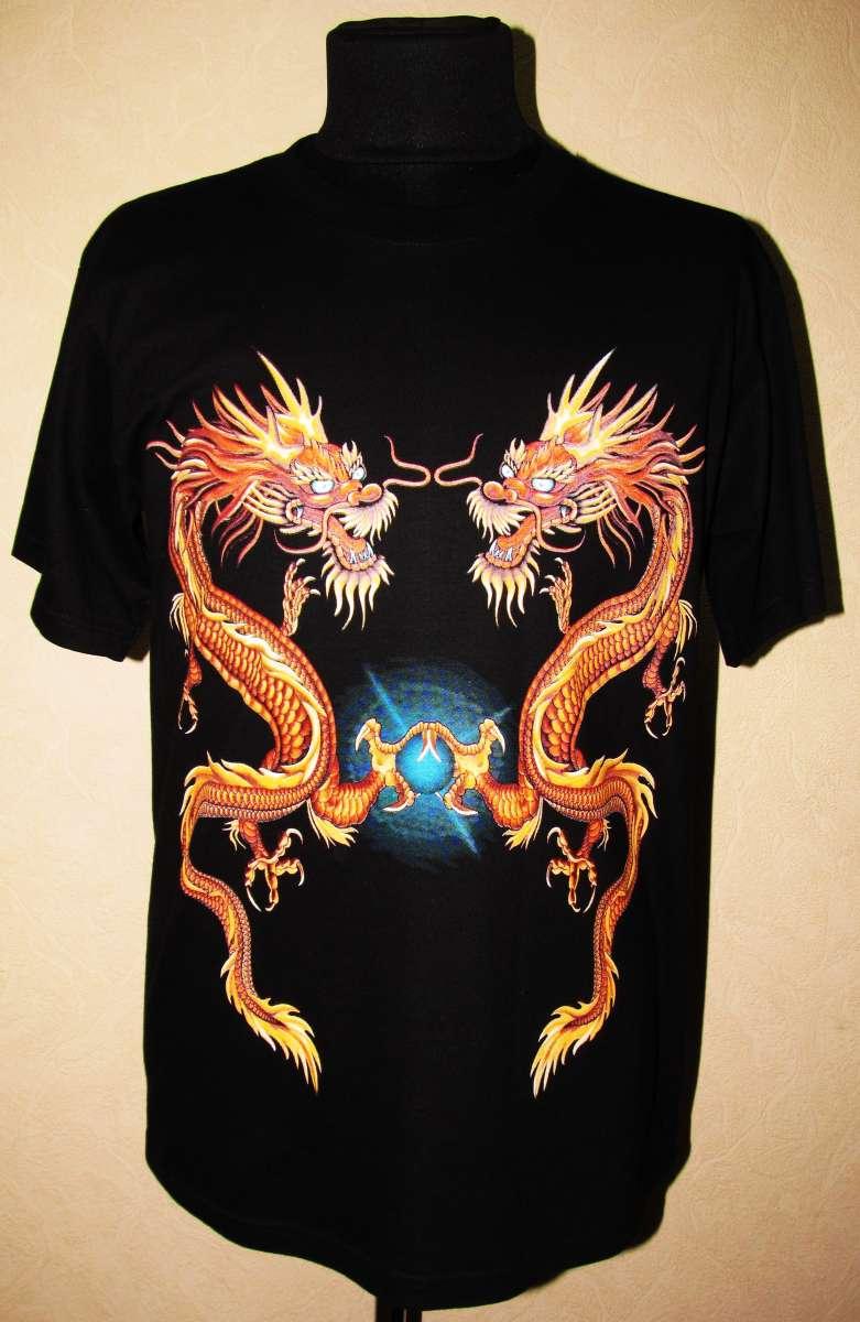 Стильная тайская футболка с изображением дракона. Размер: XL (50-52).
