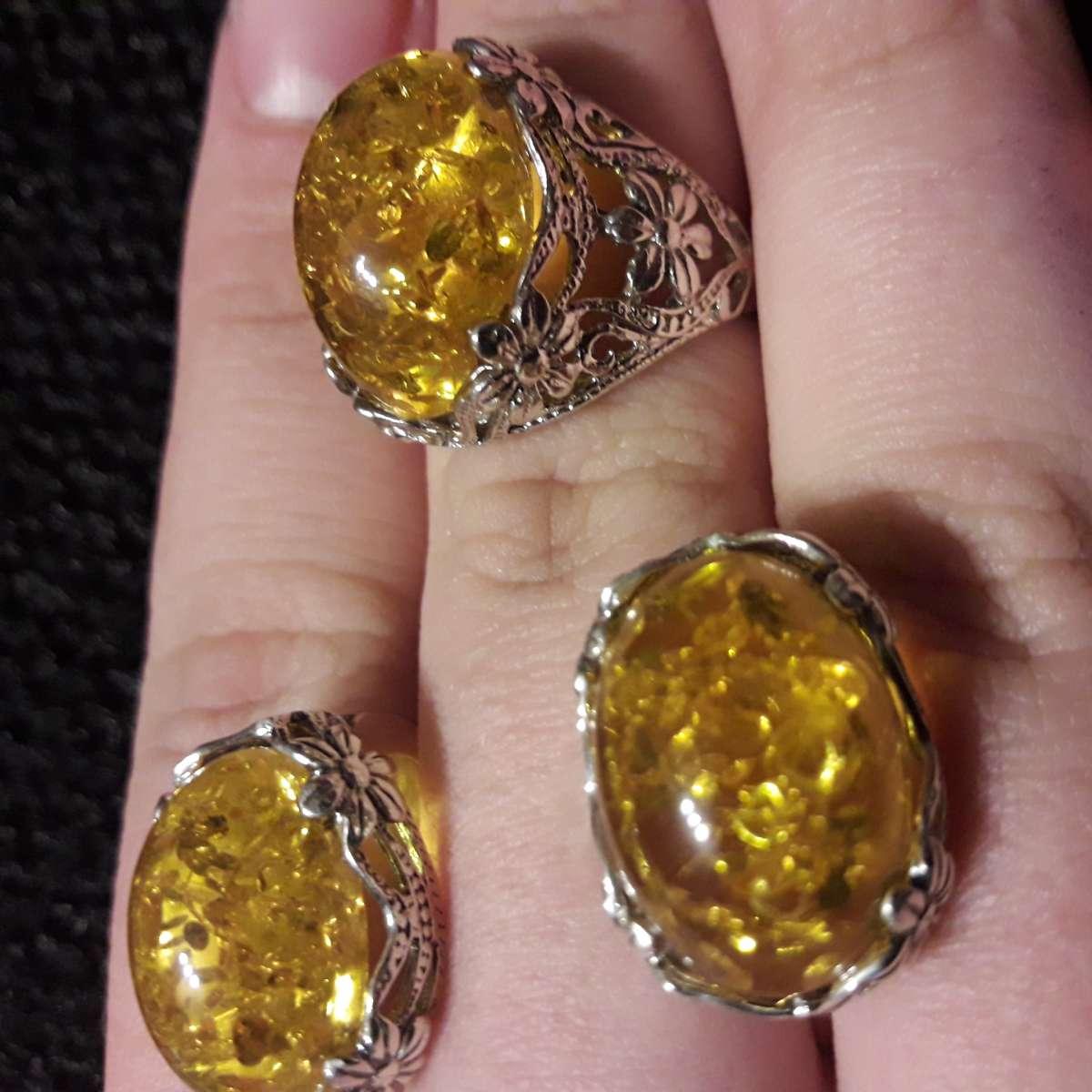 Комплект серьги+кольцо с янтарем