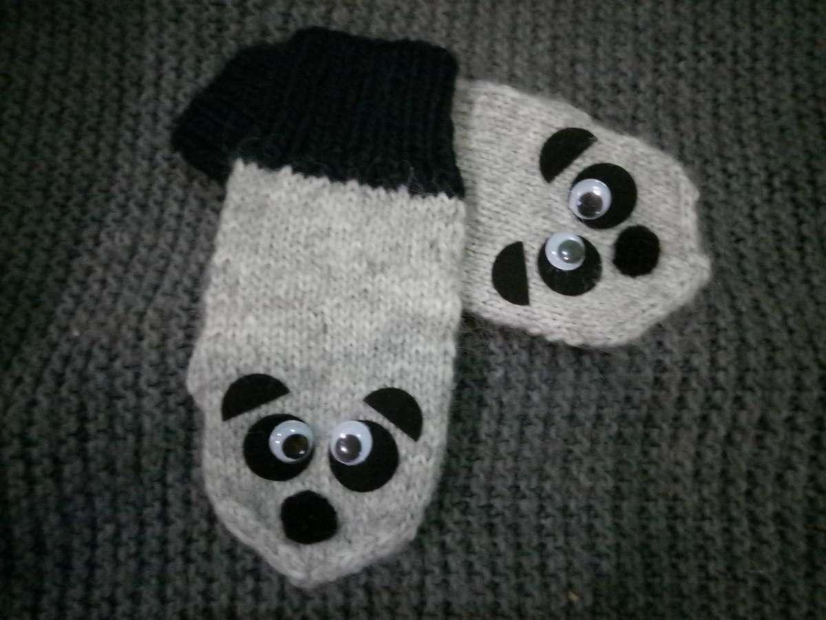 Варежки рукавички панды (Hand Made)