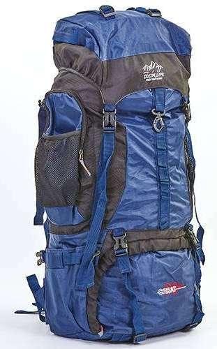 Рюкзак туристический 95(80+15)л, нижний вход темно-синий