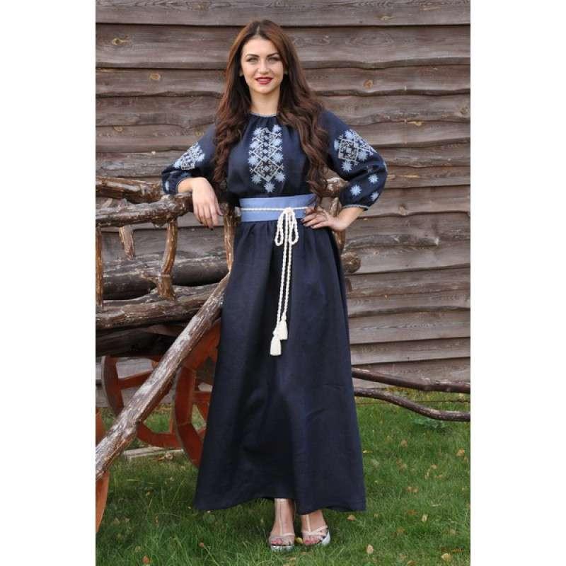 Сукня максі з вишивкою