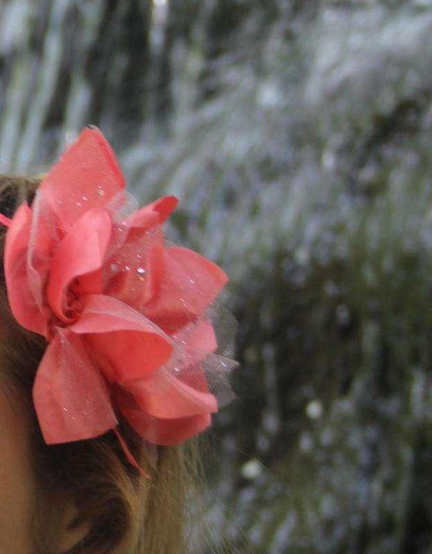 Обруч, цветок,розовый, коралл