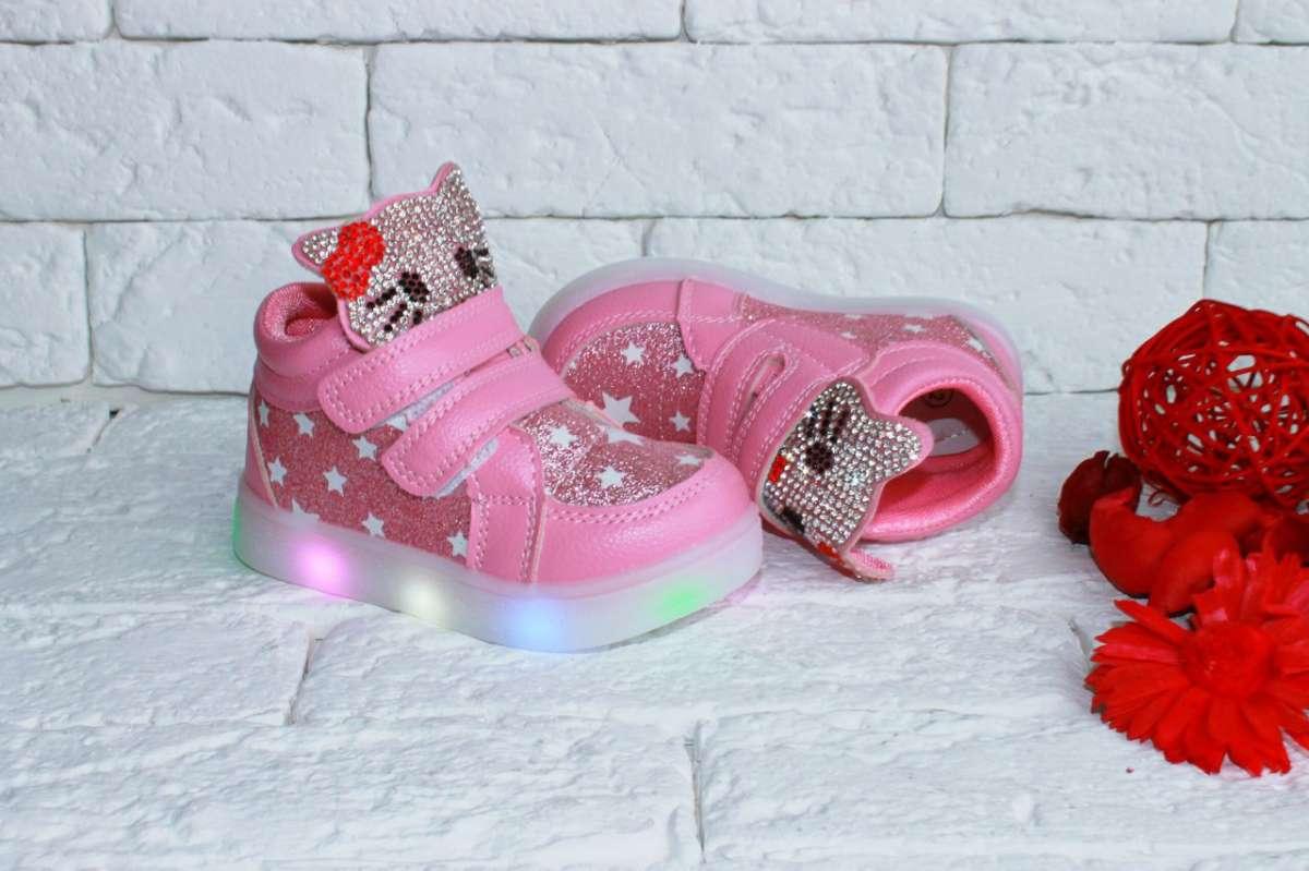 Кроссовки хайтопы Hello Kitty с LED подсветкой
