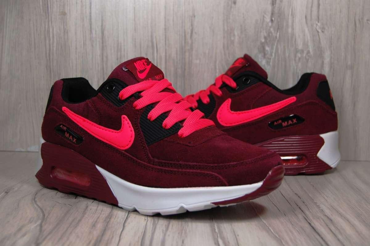 4238d3c3 Бордовые женские кроссовки Nike Air Max натуральный замш : 799 грн ...