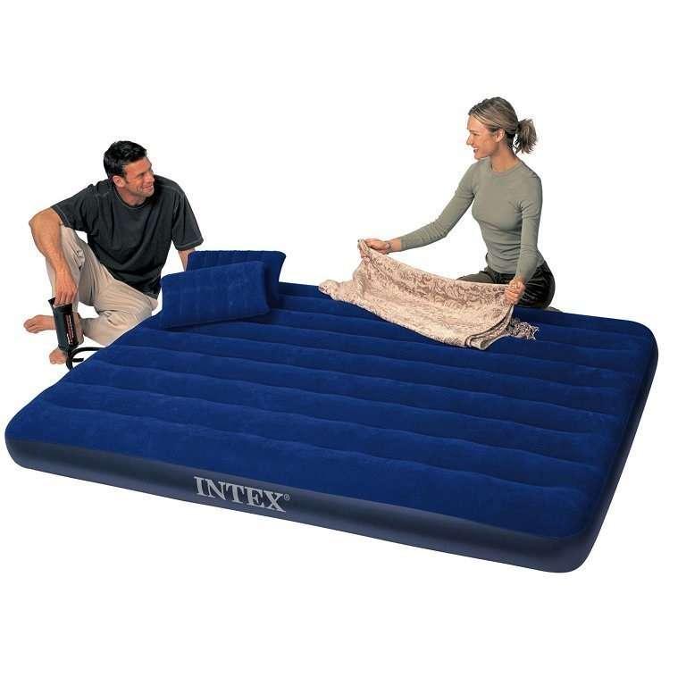 Intex 68765 Надувной двухспальный матрас + 2 подушки + насос