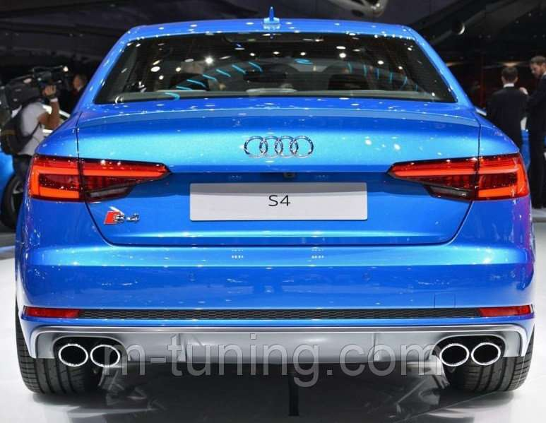 Диффузор юбка тюнинг и насадки на выхлоп Audi A4 B9 стиль S4