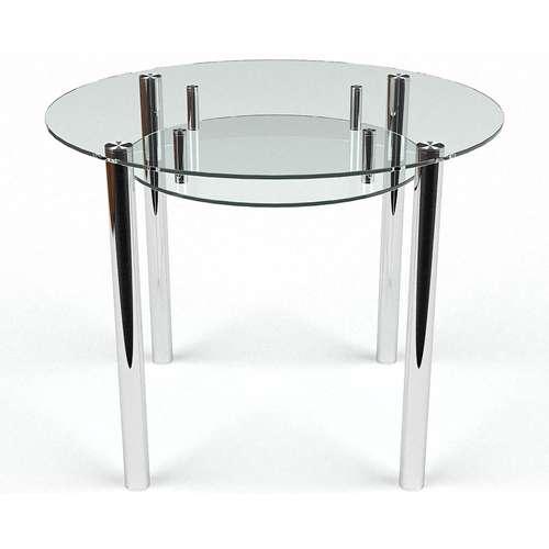 Стеклянный обеденный стол Круглый с полкой