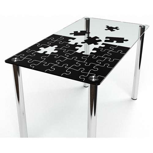 Стеклянный обеденный стол Пазл