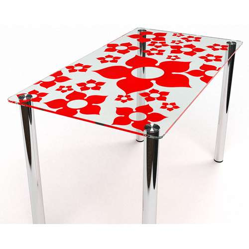 Стеклянный обеденный стол Цветение S-3