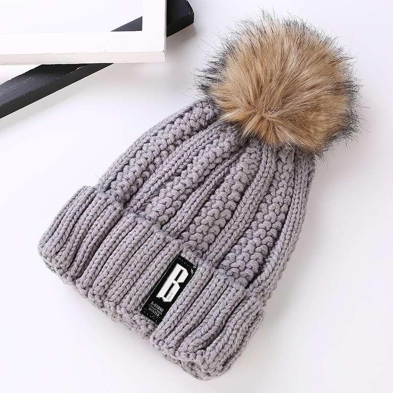 Серая шапка g-stone трикотажная вязаная женская теплая с помпоном