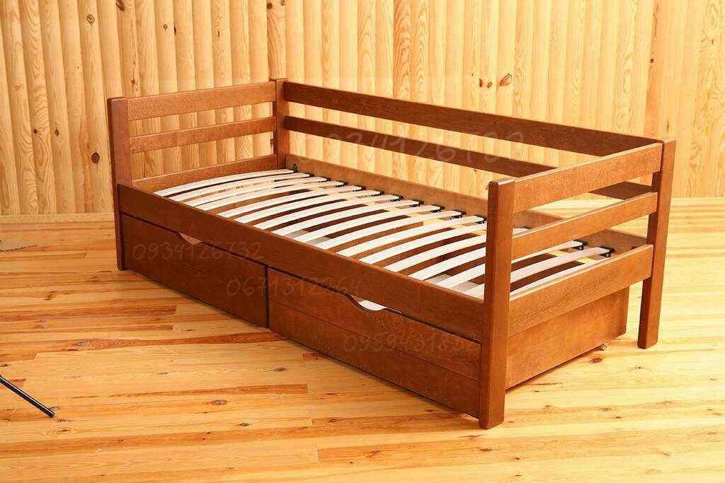 """Односпальная кровать из массива Ольхи """"Нота"""" со склада фабрики"""