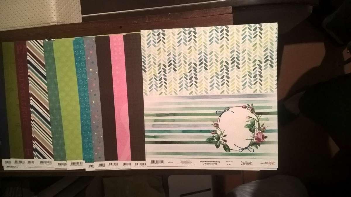 Дизайнерская бумага для скрапбукинга РОСА 200 г двусторонняя 30*30 см