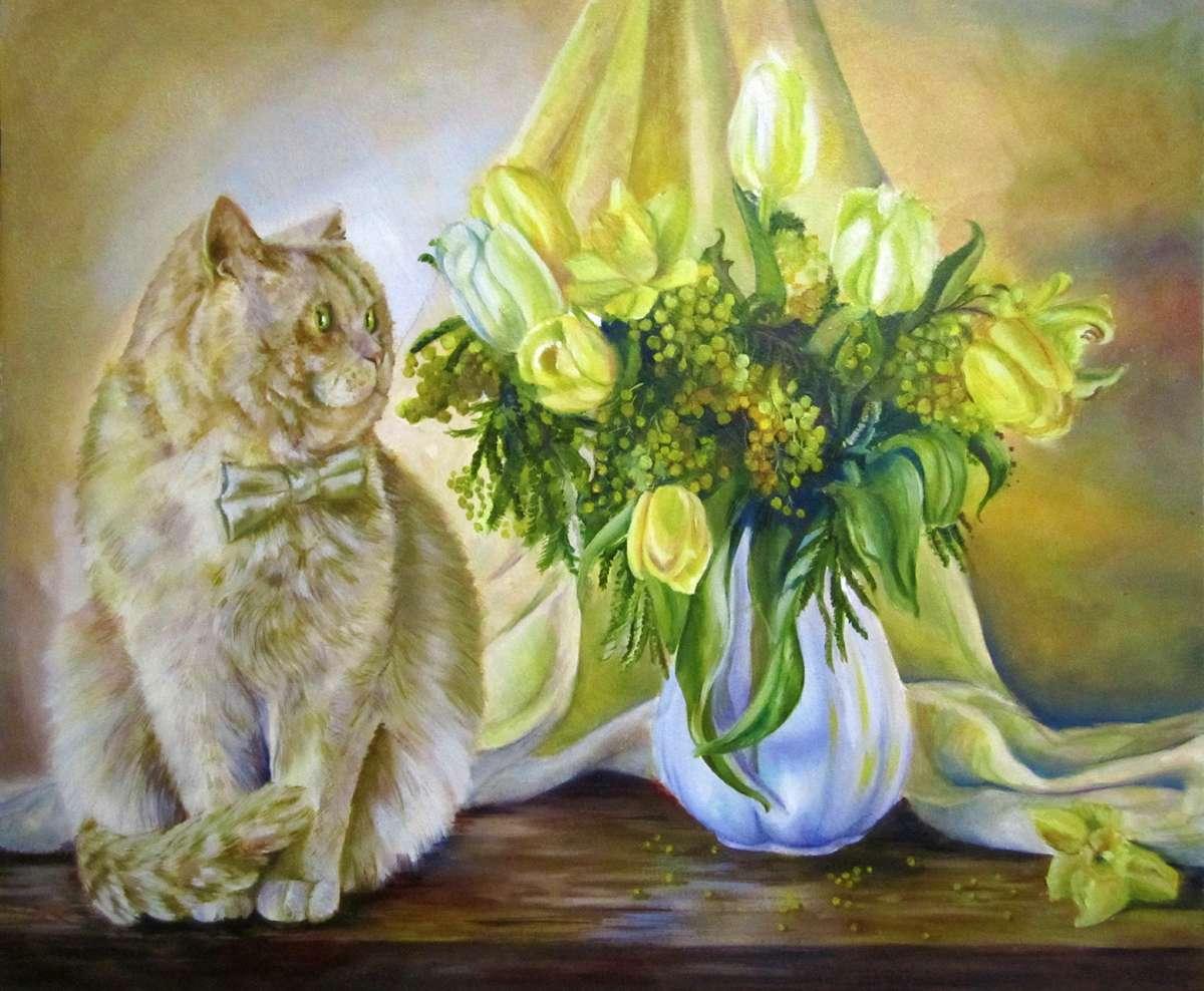 Картина. Натюрморт. Рыжий кот, цветы. 50#60 масло, двп