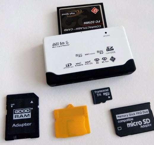 Картридер 10 в 1 microSD, SDHC, Olympus xD, microSD, CompactFlash