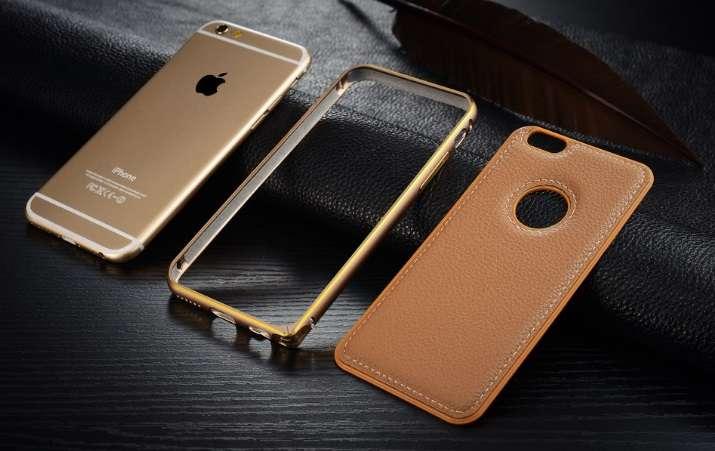 iPhone 6/6s алюминиевый бампер-кейс с кожаным покрытием задней крышки