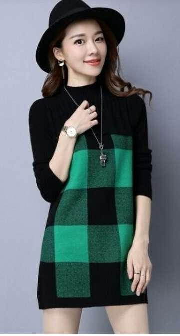 Красивая зелёная туника-платье в клетку