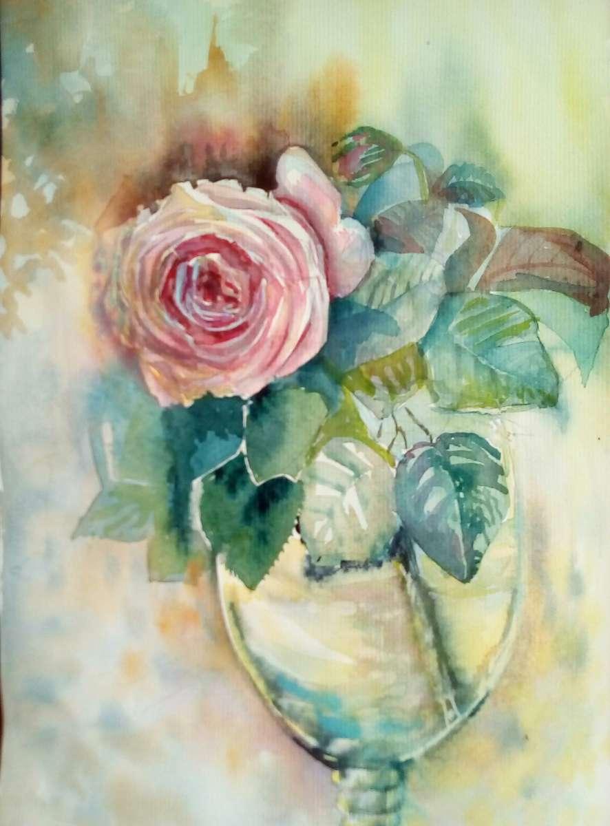"""Картина акварелью """"Роза в бокале"""""""