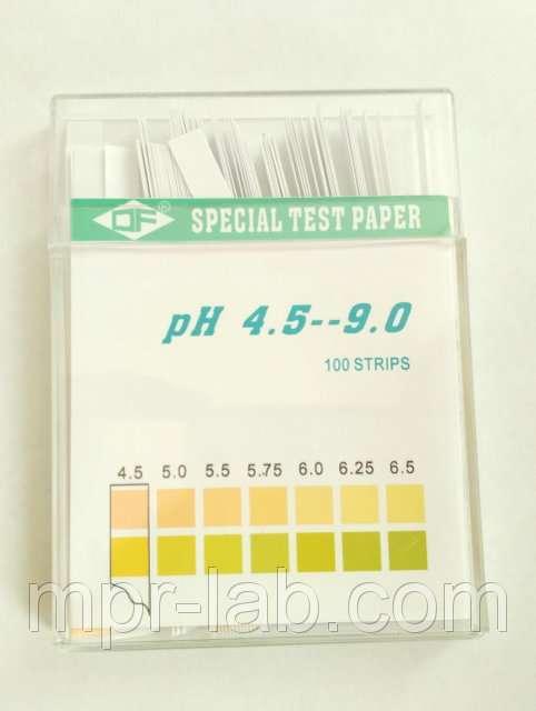Медицинский лакмус (рН- тест) 4.5-9.0 рН (слюна, моча, секреты) 100 по