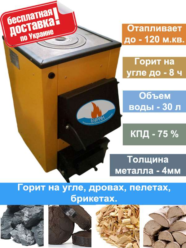Твердотопливный котел Буран - mini 12П