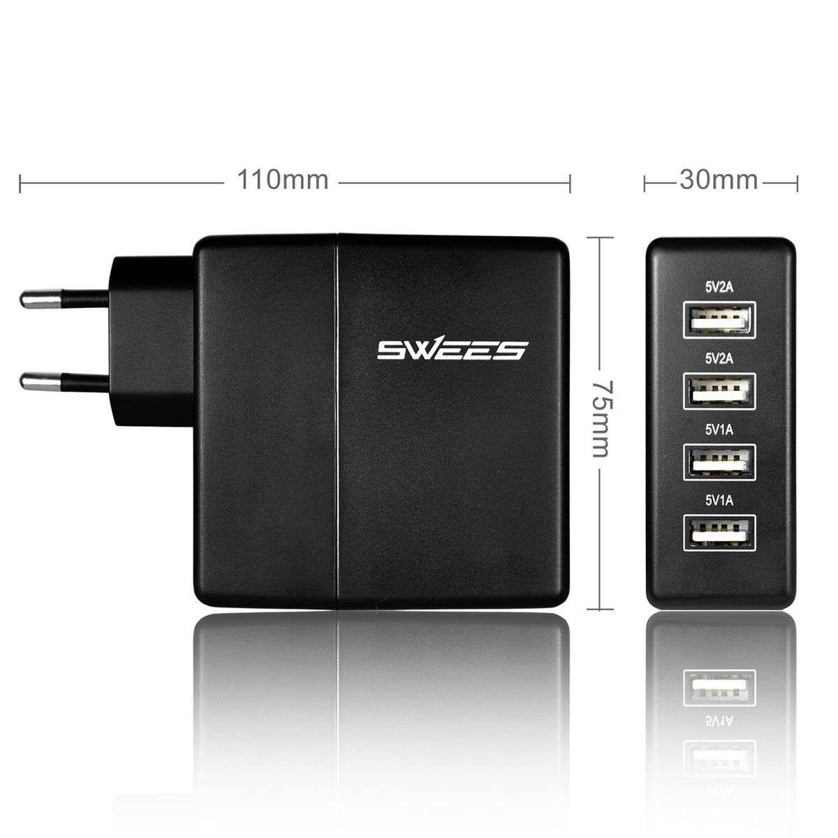 """""""SWEES"""" мощнейшее зарядное устройство на 4 порта 5V/выход 6А./30 Вт."""