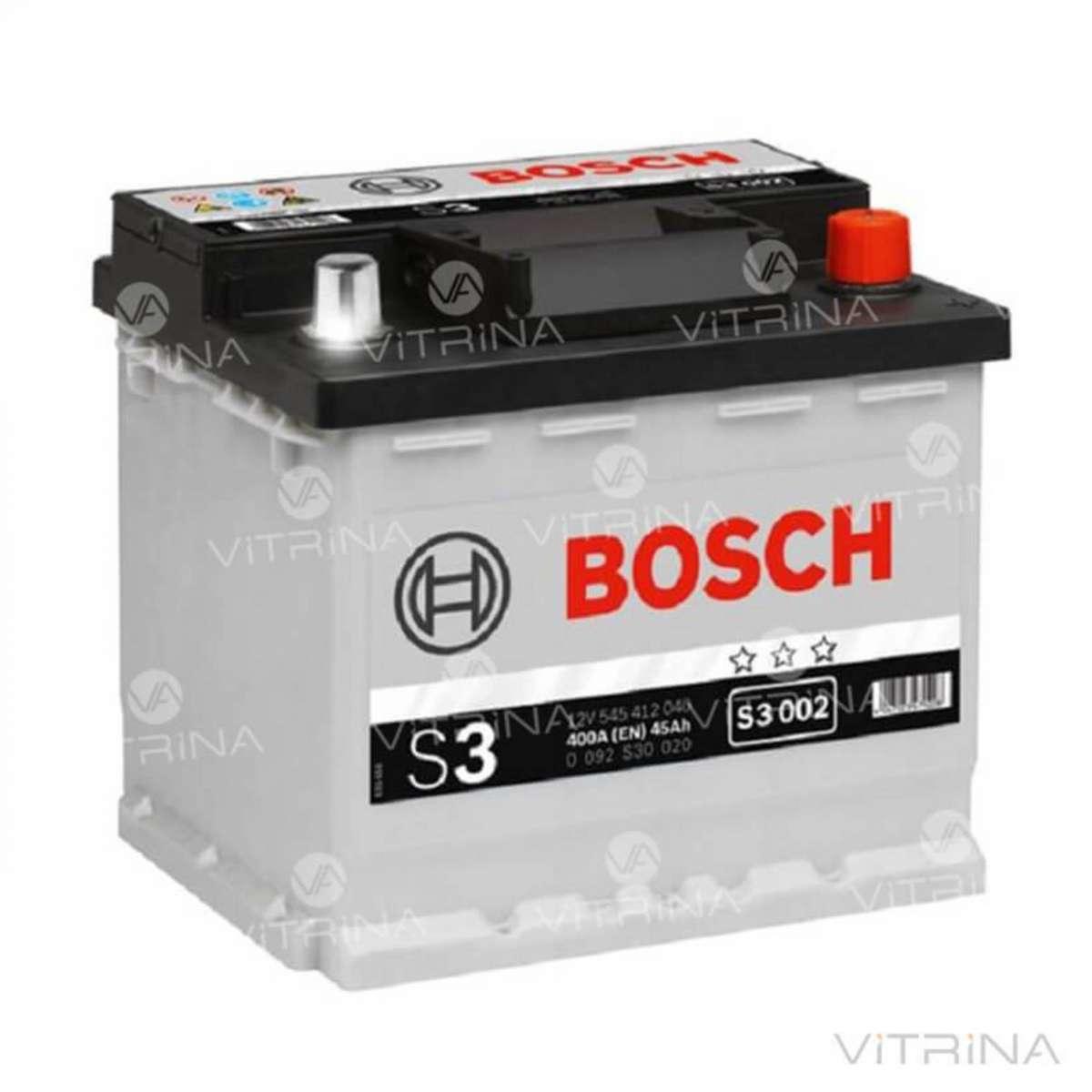 Аккумулятор BOSCH 45Ah-12v S3002 207x175x190 со стандартными клеммами