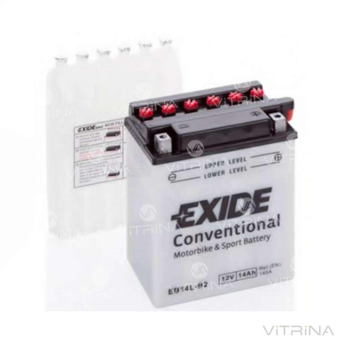 Аккумулятор EXIDE 14Ah-12v EB14L-B2 134х89х166 | R, EN145 Европа