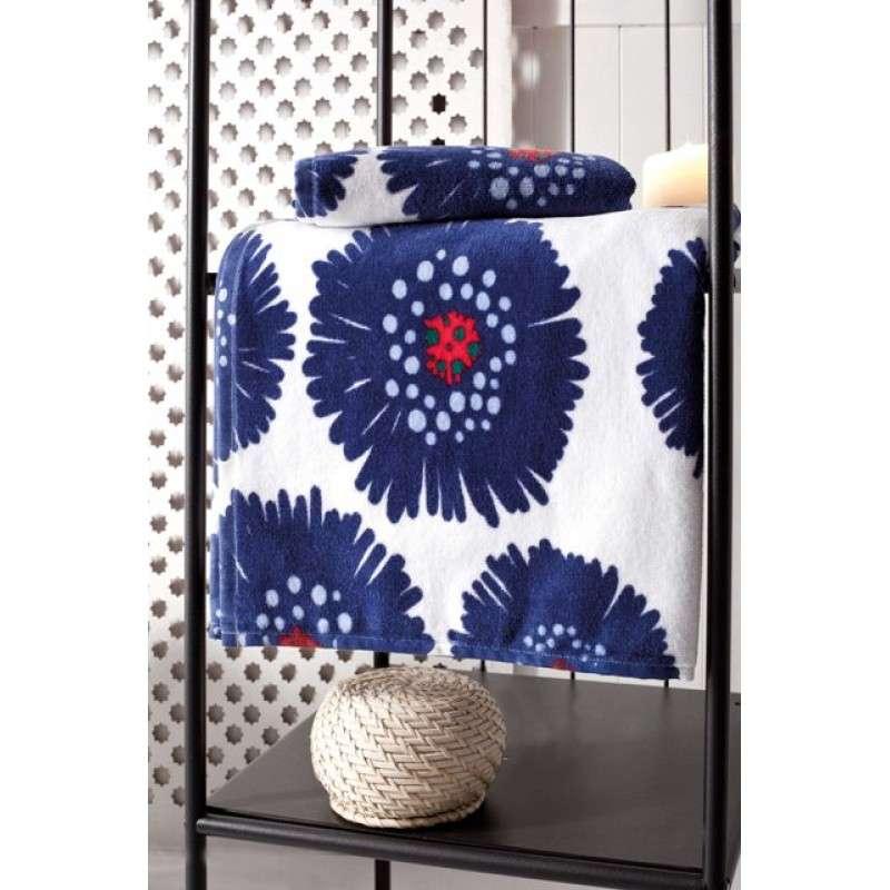 Яркое махровое полотенце Синие цветы