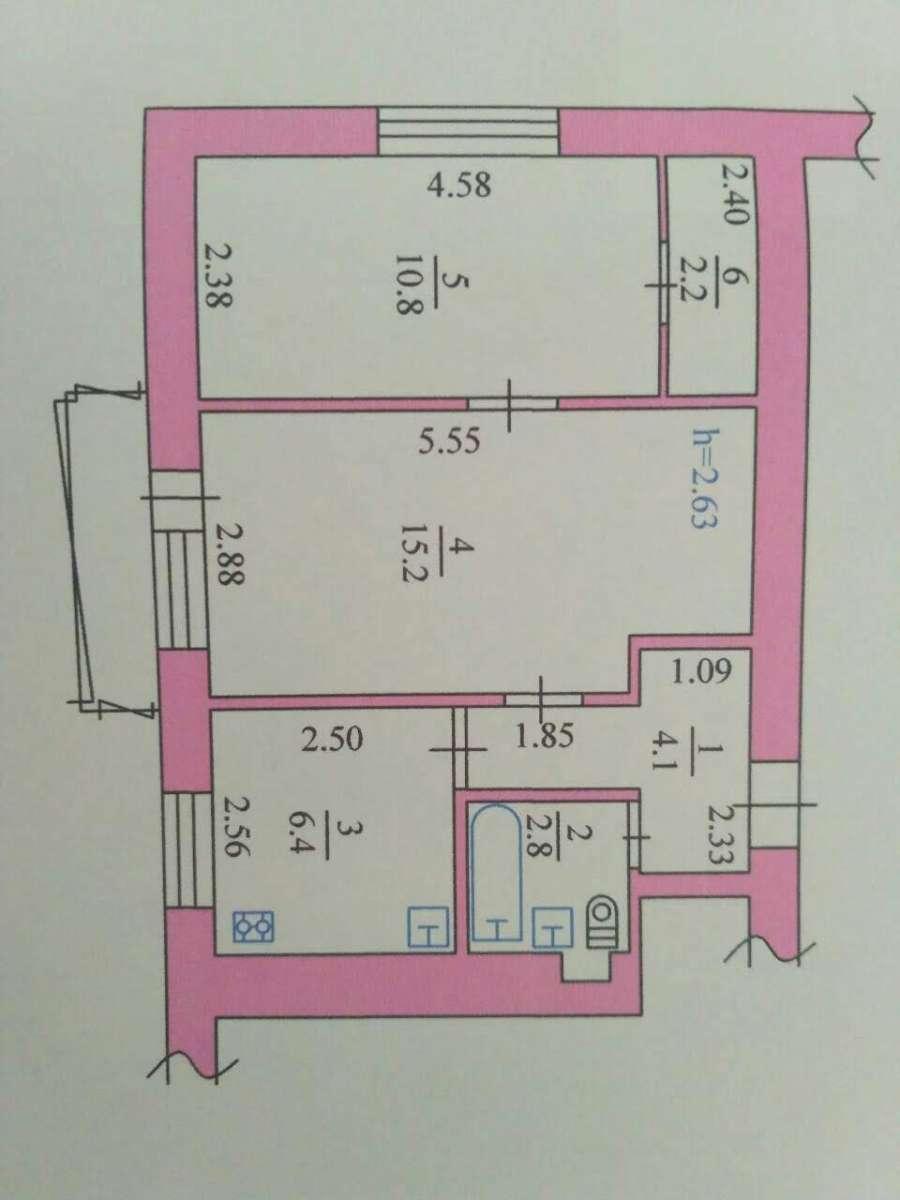 раздельный комнаты кухня 7 кв с газовой колонкой