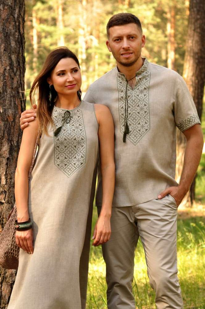 Комплект з натурального льону - чоловіча сорочка з коротким рукавом і