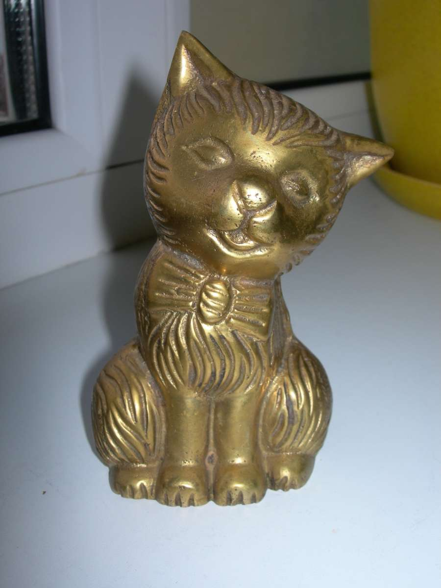 Статуэтка, Кот, кошка с бантом, бронза, Германия