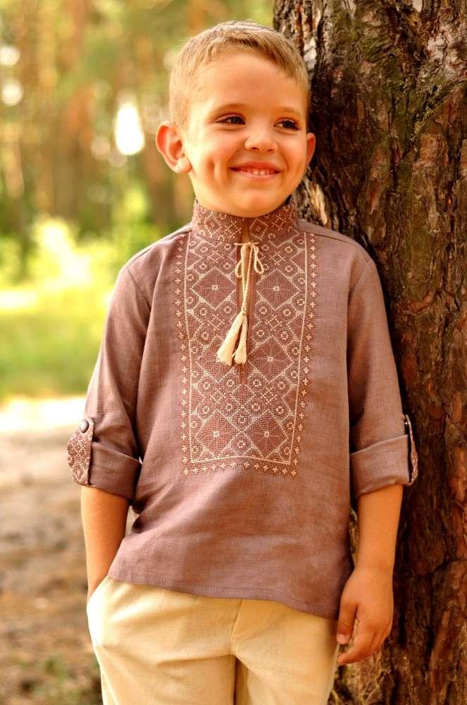 Вишиванка для хлопчика з оригінальною вишивкою