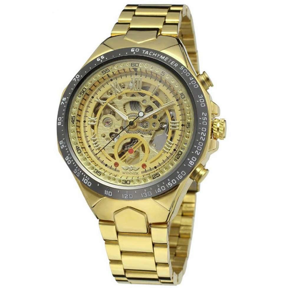 ☀Элегантные часы Winner Bussines Gold мужские механические круглые с с
