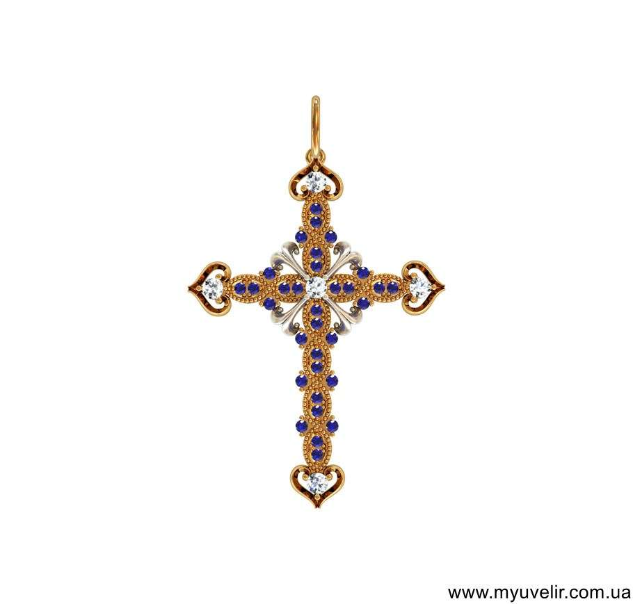 Золотой крест с цирконами