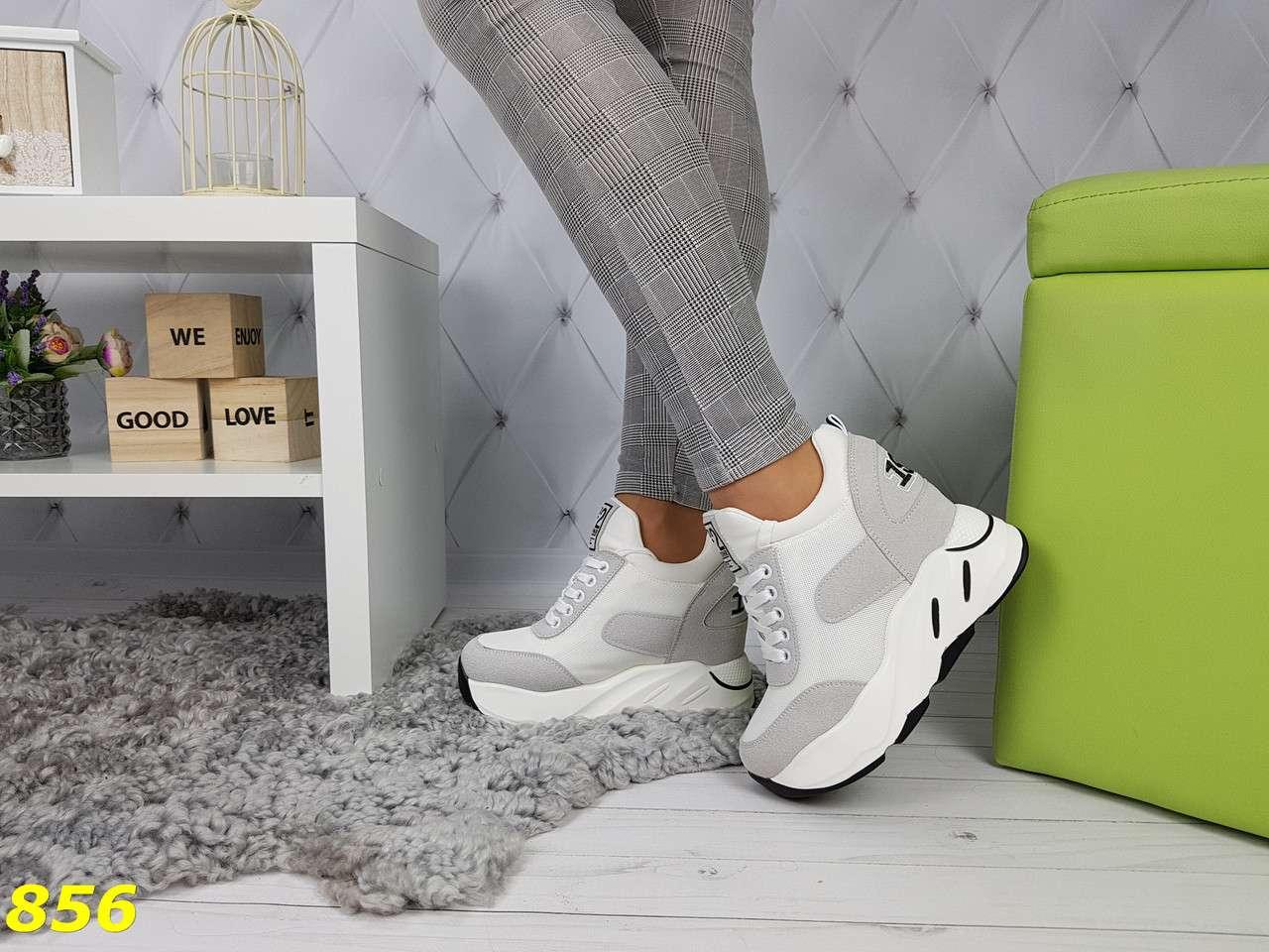 Сникерсы кроссовки на высокой платформе с танкеткой бело-серые