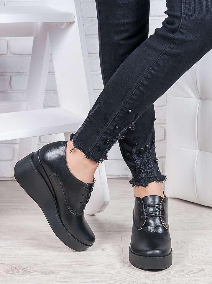 Туфли черные на платформе, Натуральная кожа