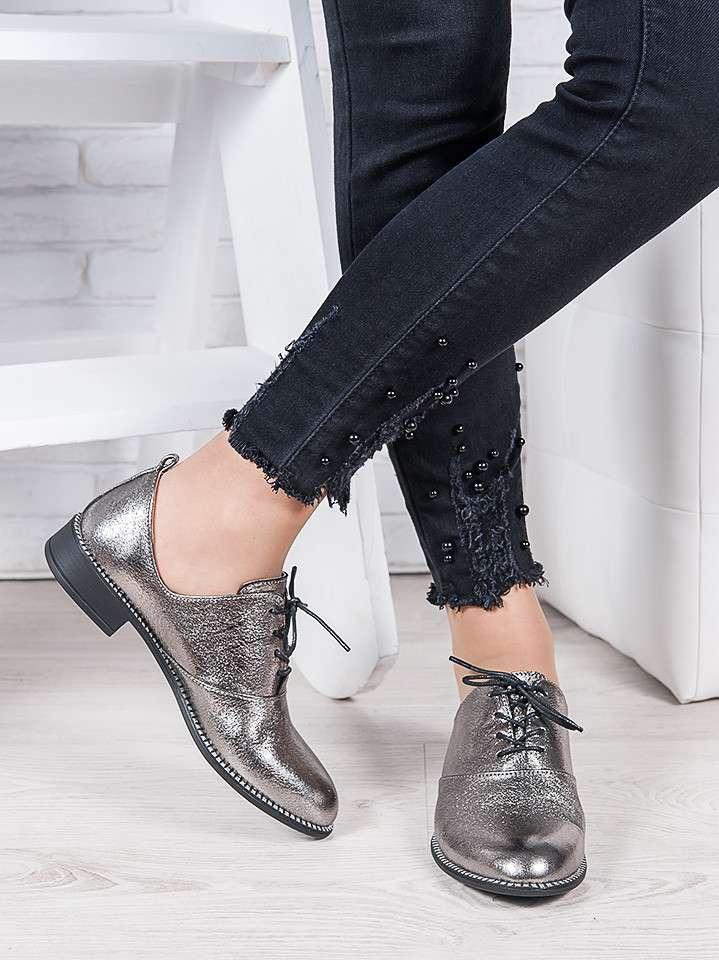 Туфли кожаные сатин Эвелин, Натуральная кожа