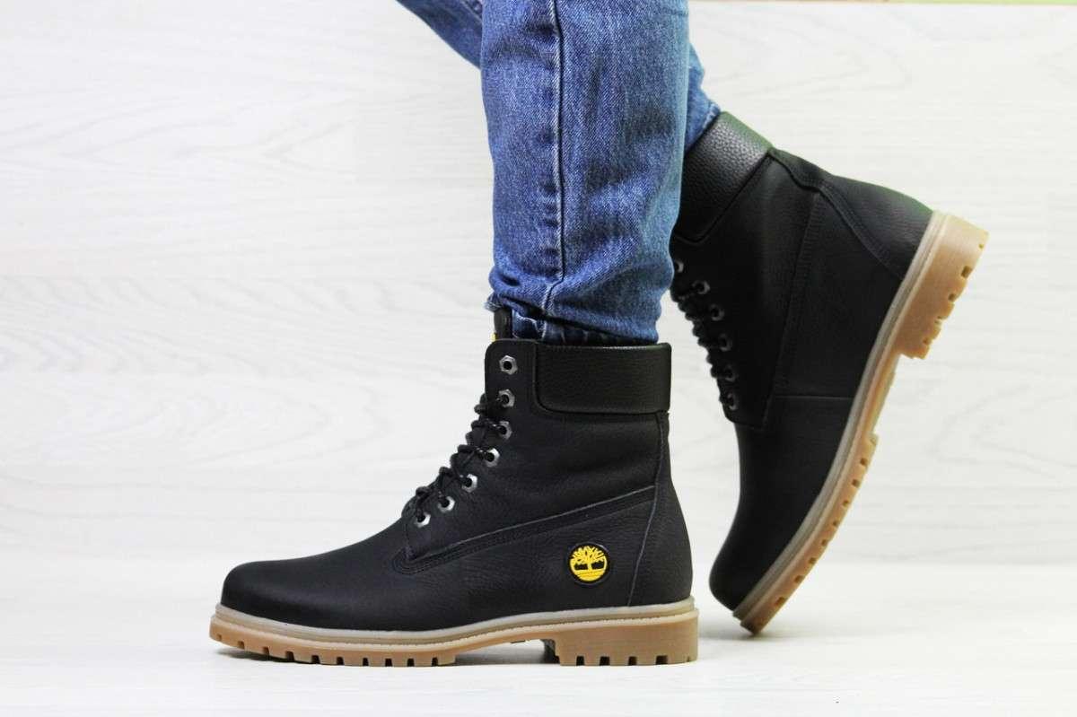 Женские ботинки зимние черные Timberland 6943
