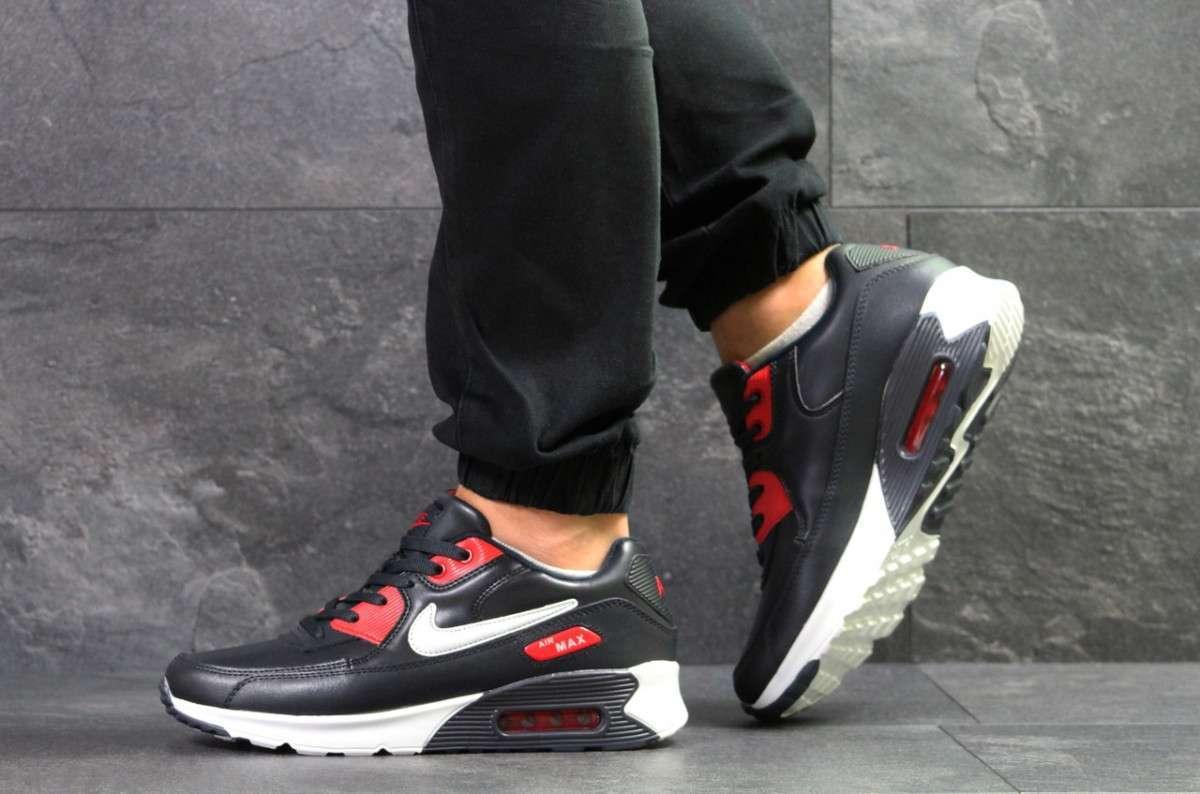 Мужские кроссовки темно синие с белым и красным Nike Air Max 7037