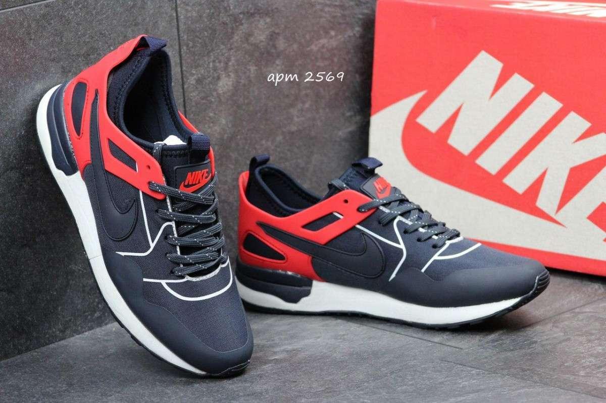 Мужские кроссовки Nike темно синие с красным 2569