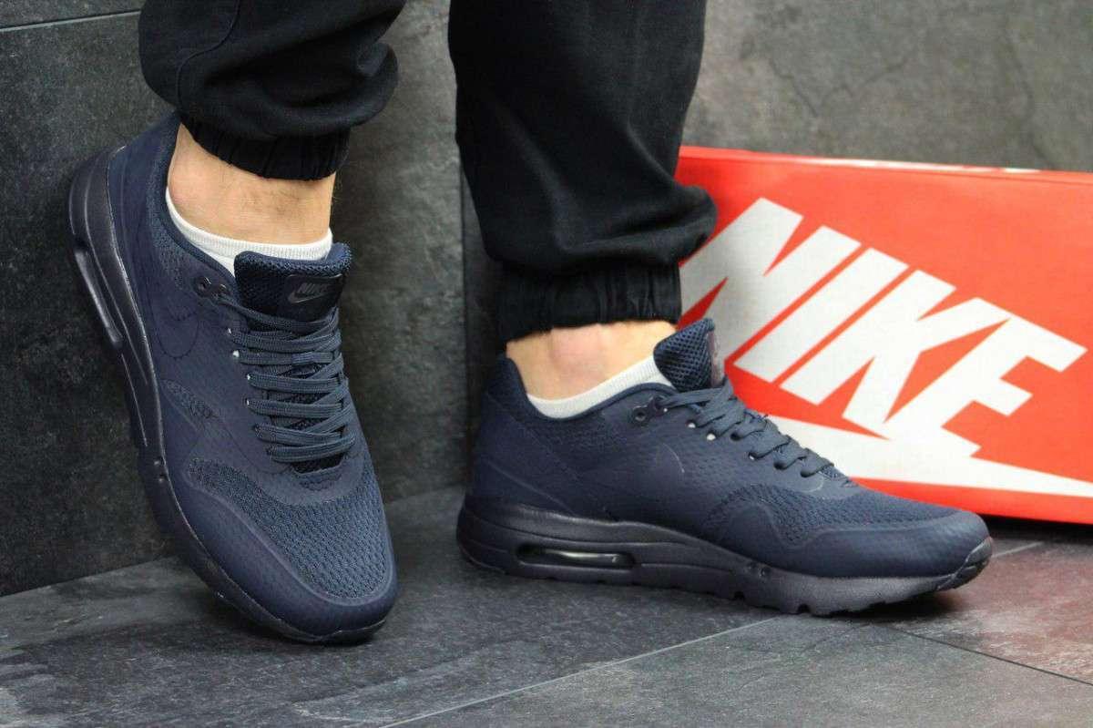 Кроссовки мужские темно синие Nike Air Max 1 Flyknit РП-5018