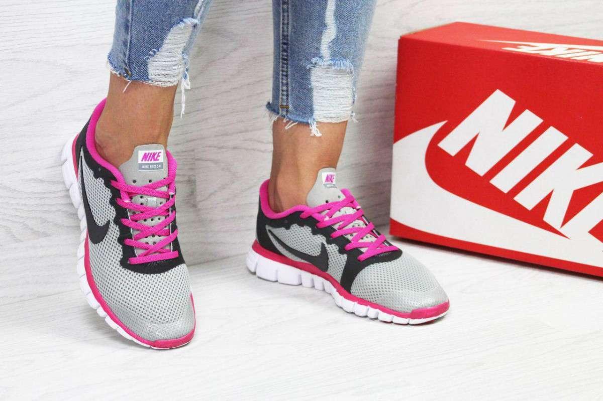 Кроссовки женские серые с розовым Nike Free ran 3.0 5432