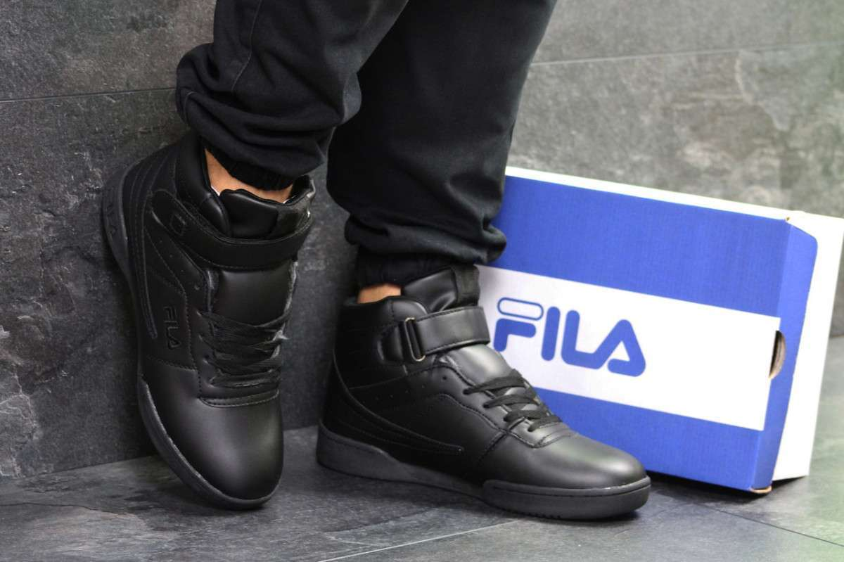 Зимние мужские кроссовки черные Fila 6699