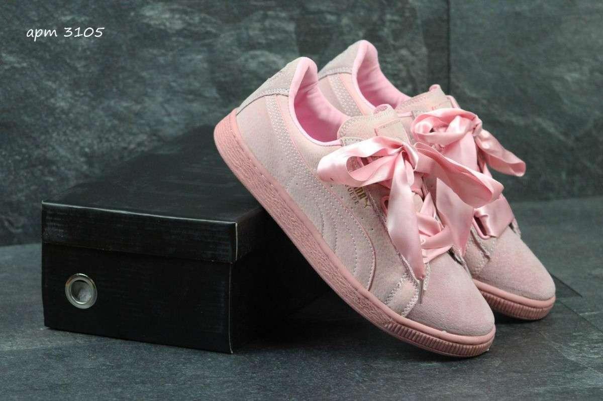 Женские кроссовки Puma Suede Bow розовые 3105