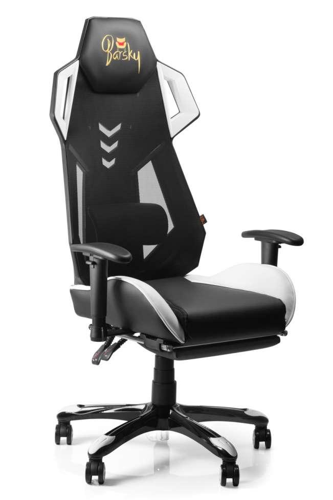 Геймерское кресло игровое Barsky BGM-09 черное с белым