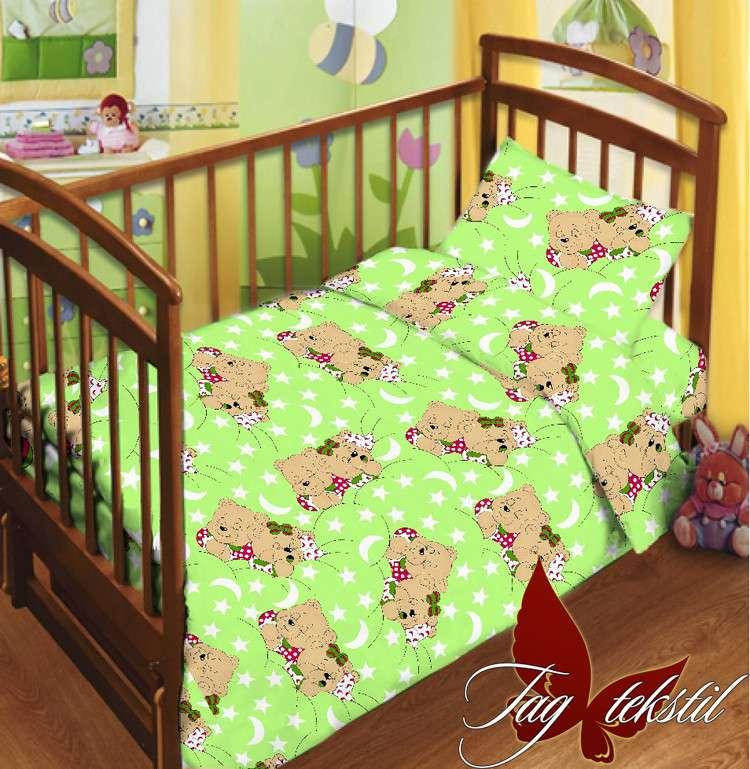 Комплект постельного белья детский в кроватку с простыней на резинке М