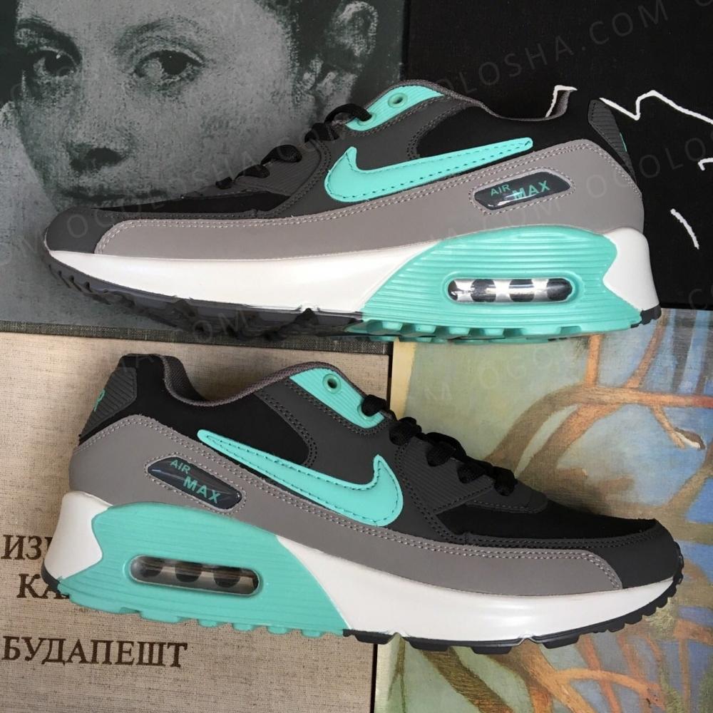 Кроссовки nike air max grey серые голубые mint