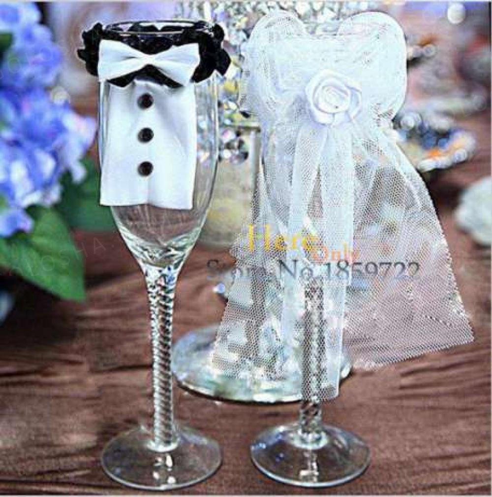 Скидка!!!Украшение на бокалы жениха и невесты