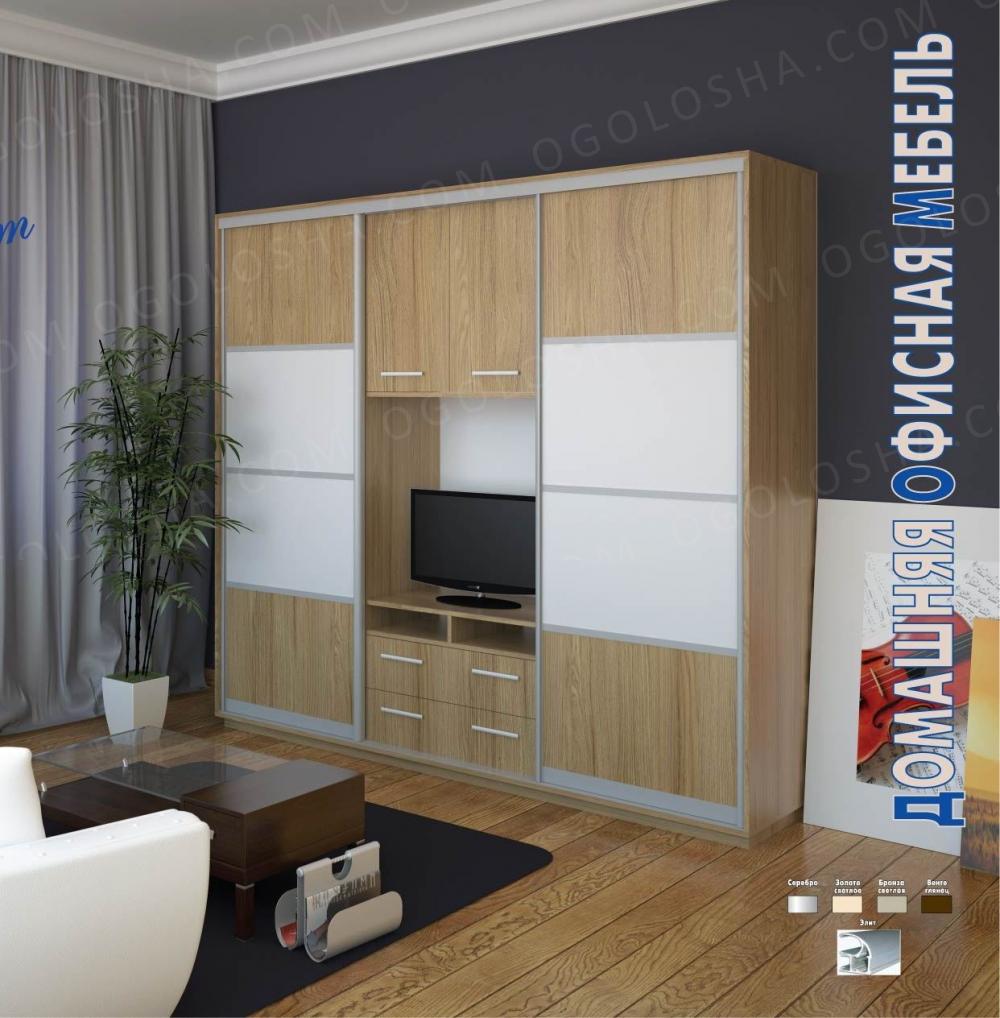 Шкаф-купе с местом для телевизора по центру техно 2.