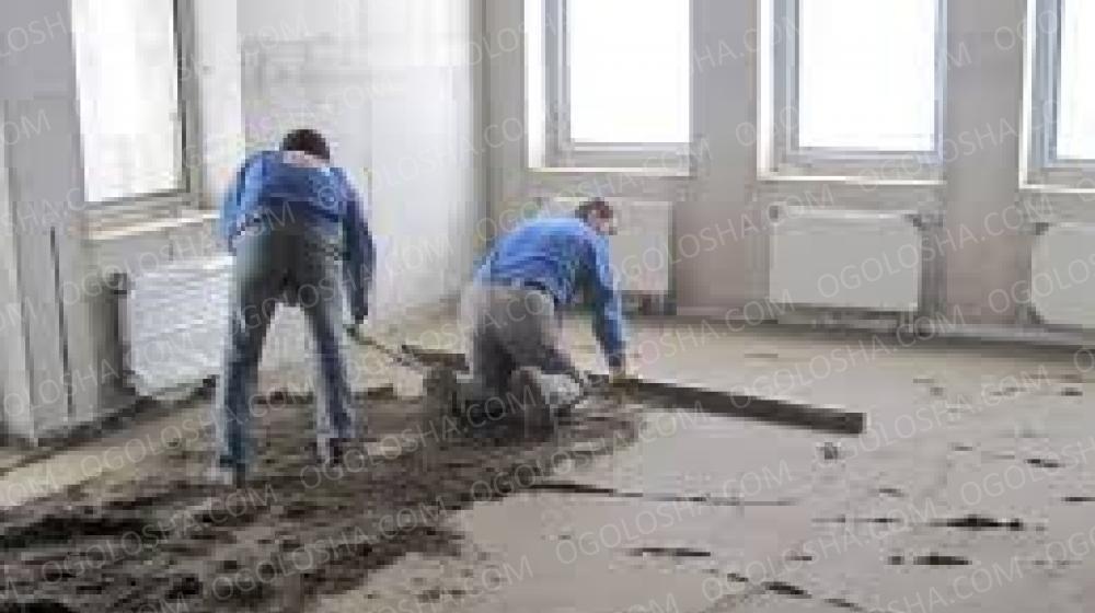 Стяжка пола цементно-песчанная машинным способом