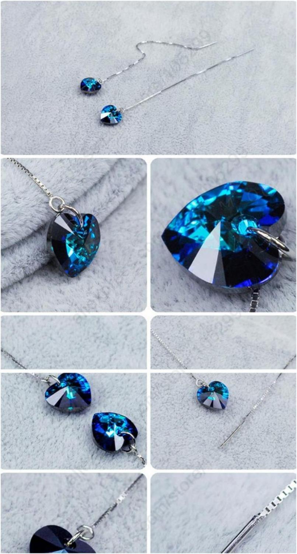 Серебряные серьги, кристалл